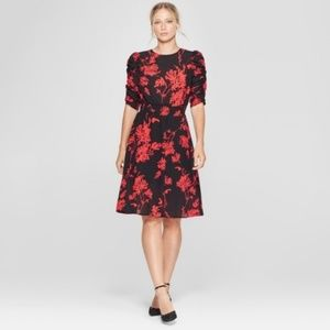 Who What Wear Red & Black Floral Dress